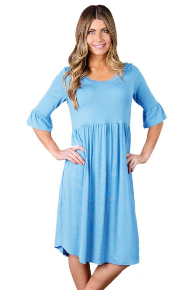Blue Ruffle Sleeve Midi Jersey Dress