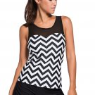 Black White Zigzag Print Mesh Splice 2pcs Tankini Swimsuit