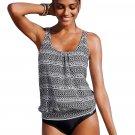 Monochrome Beach Ethnic Print 2pcs Tankini Swimsuit