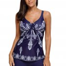 Navy Printed Tummy Slimmer Tankini Swimsuit