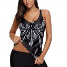 Black Printed Tummy Slimmer Tankini Swimsuit