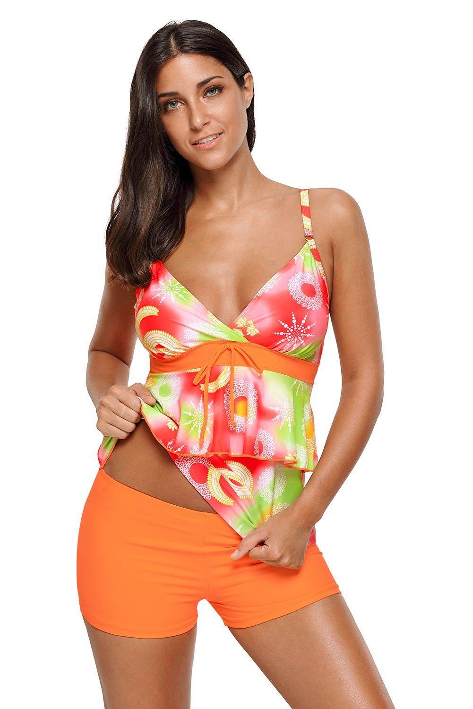 Orange Green Boho Print 2pcs Tankini Swimsuit