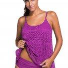 Purple Lace Overlay Spaghetti Straps Tankini Swimsuit
