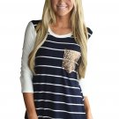 Navy White Stripe Sequin Pocket Top
