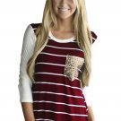 Wine White Stripe Sequin Pocket Top