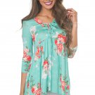 Lace Up V Neck Mint Floral Blouse