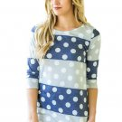 Navy Grey Bold Stripe Polka Dot Shirt