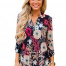 Dark Blue Blossom Print Slight V Neck Blouse