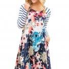 Multiple Floral Print Stripe Raglan Sleeve Dress