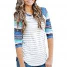 Light Blue Stripes Raglan Sleeve Top