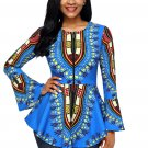 Blue African Print Zipper Front Long Sleeve Top