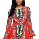 Orange African Print Zipper Front Long Sleeve Top