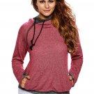 Heather Red Double Hooded Sweatshirt