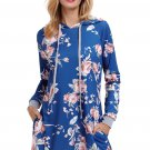 Slate Blue Floral Print Drawstring Hoodie Dress