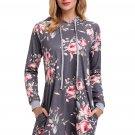 Grey Floral Print Drawstring Hoodie Dress