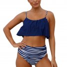 Women In Navy Top and Striped Bottom High Waist Swimwear
