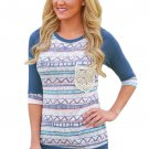 Blue Raglan Sleeve Lace Pocket Detail Printed Top