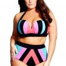 Wholesale Plus Size Strapped Color Splice Two Piece Swimwear