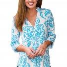 Blue Damask Print Slight Collar V Neck Blouse