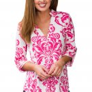 Rosy Damask Print Slight Collar V Neck Blouse