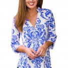 Royal Blue Damask Print Slight Collar V Neck Blouse