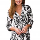 Black Damask Print Slight Collar V Neck Blouse