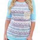 Light Blue Raglan Sleeve Lace Pocket Detail Printed Top