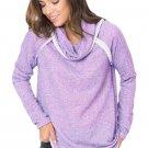 Violet Raw Edge Cowl Neck Pullover Sweatshirt