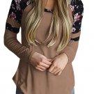 Brown Floral Varsity Stripe Long Sleeve Top
