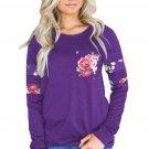 Floral Patch Accent Purple Sweatshirt