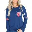 Floral Patch Accent Navy Sweatshirt