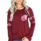 Floral Patch Accent Burgundy Sweatshirt