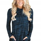 Heather Blue Cozy Cowl Neck Drawstring Sweatshirt
