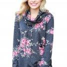 Pink Floral Print Cowl Neck Charcoal Sweatshirt