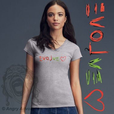 EVOLve Womens Lightweight Fitted V-Neck Tee, Heather Gray (S-2XL)