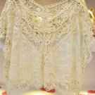 Ivory Lace Size L Large Misses Blouse Top Sheer Accents Tunic Bat Sleeves