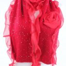 Crimson Red Winter Scarf Sequins Glitter Ruffled Stole Wrap Rosette