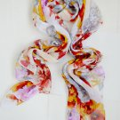 Floral Silk Polyester Scarf Long Orange Leaves Grey Purple Floral