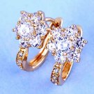 9 Karat Yellow GP Costume Hoop Earrings Flower Zircon Costume