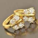 9 Karat Yellow GP Earrings Butterfly Costume Pierced Hoops Bright Zircon