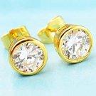 9 Karat YGP Earrings Clear Zircon Studs Costume Pierced Solitaires