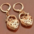 9K Rose Gold GP Costume Hoop Dangle Earrings Filigree Heart