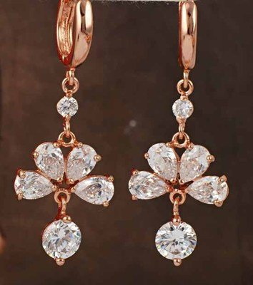 9K Yellow Gold Plated Costume Dangle Earrings Fan Clear Zircon