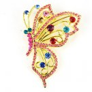 Butterfly Brooch Multicolor Rhinestone Gold Tone Modern Costume Pinot Color Drop