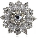 Smokey Gray Rhinestone Flower Brooch New Costume Jewelry Pin