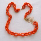 Orange Lucite Chain Necklace Yellow Turtle Rhinestone Clasp Vintage