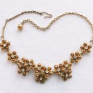 Bronze Gold Necklace Enamel Flower Rhinestones Vintage Jewelry Choker