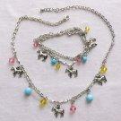 Silver Tone Necklace Figural Horse Lucite Bead Bracelet  Set