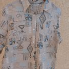 French Laundry XL Linen Shirt Geometric Print Women New