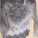 CATO 18W20W Blouse Black Gray Sublimation Studded Top New